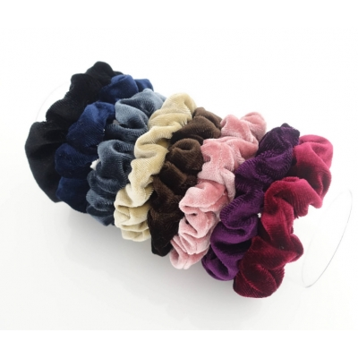 black pink yellow red blue green grey velvet elastic hair bands for girls